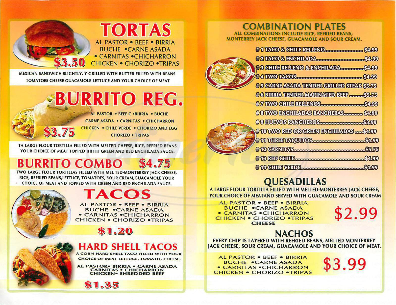 menu for Rosarito Mexican Food