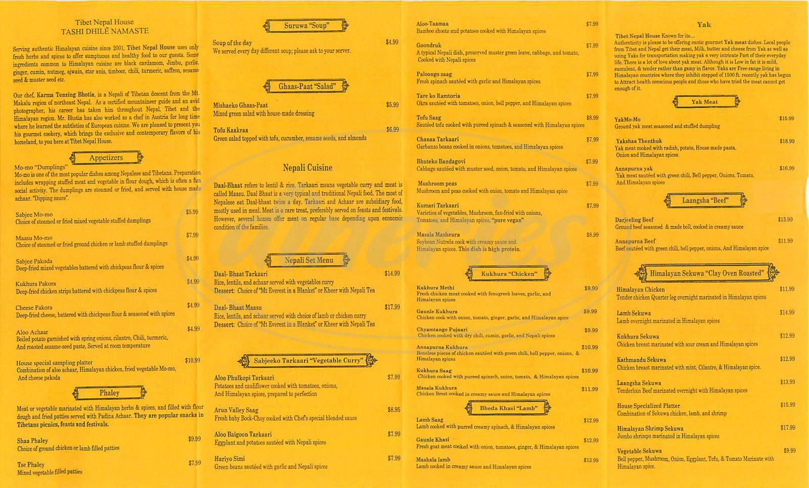 menu for Tibet Nepal House
