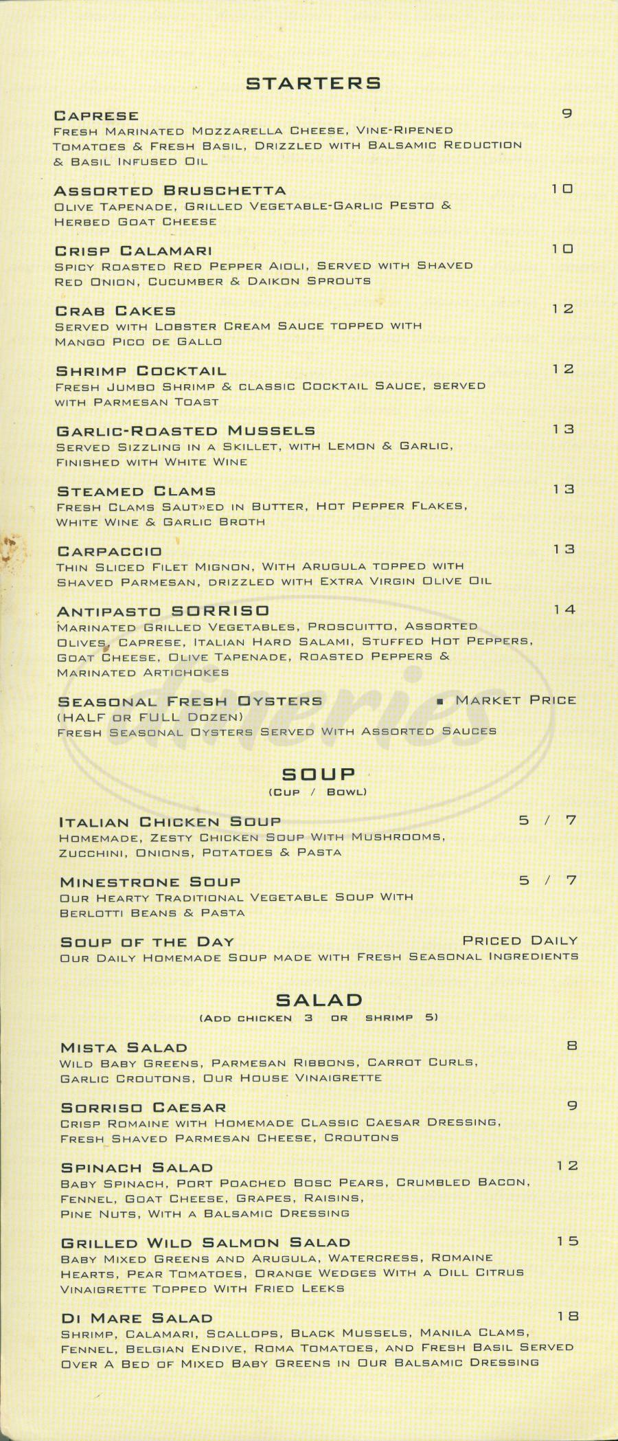 menu for Villa Sorriso