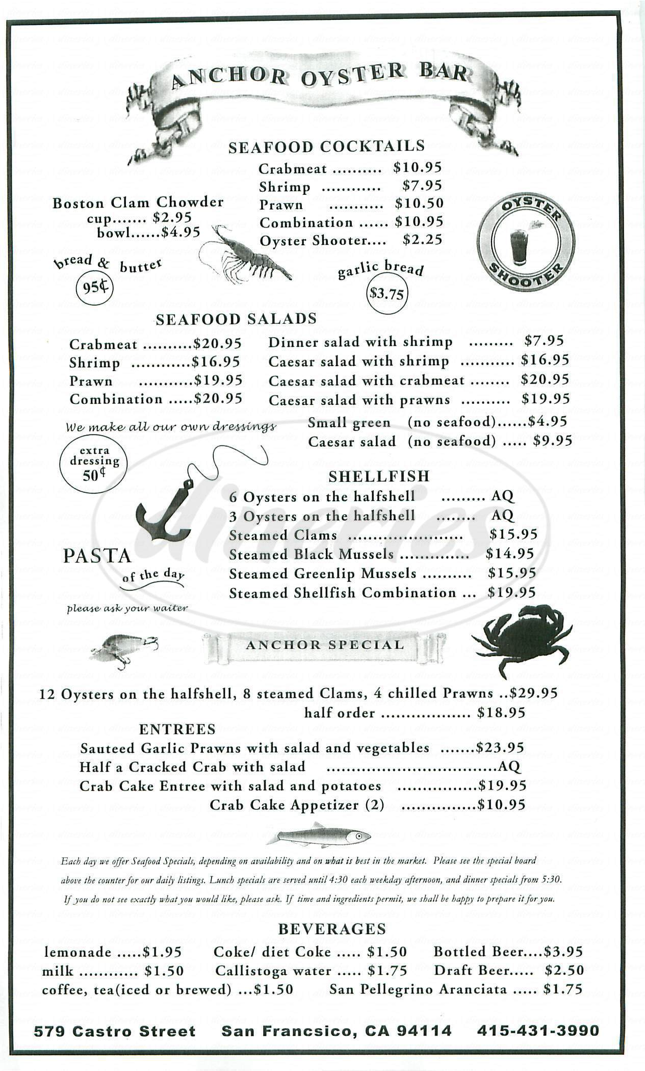 menu for Anchor Oyster Bar