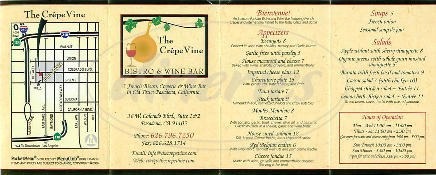 menu for The Crepevine Bistro