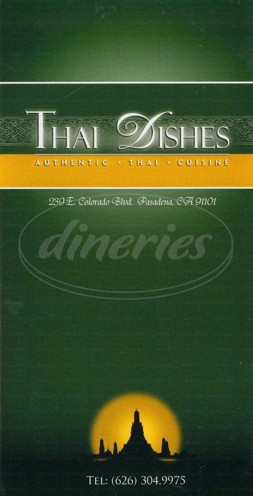 menu for Thai Dishes Restaurant