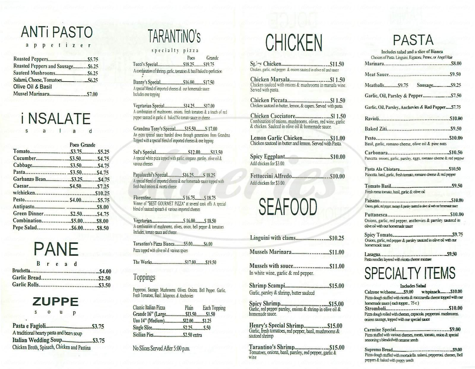 menu for Tarantinos Pizzeria