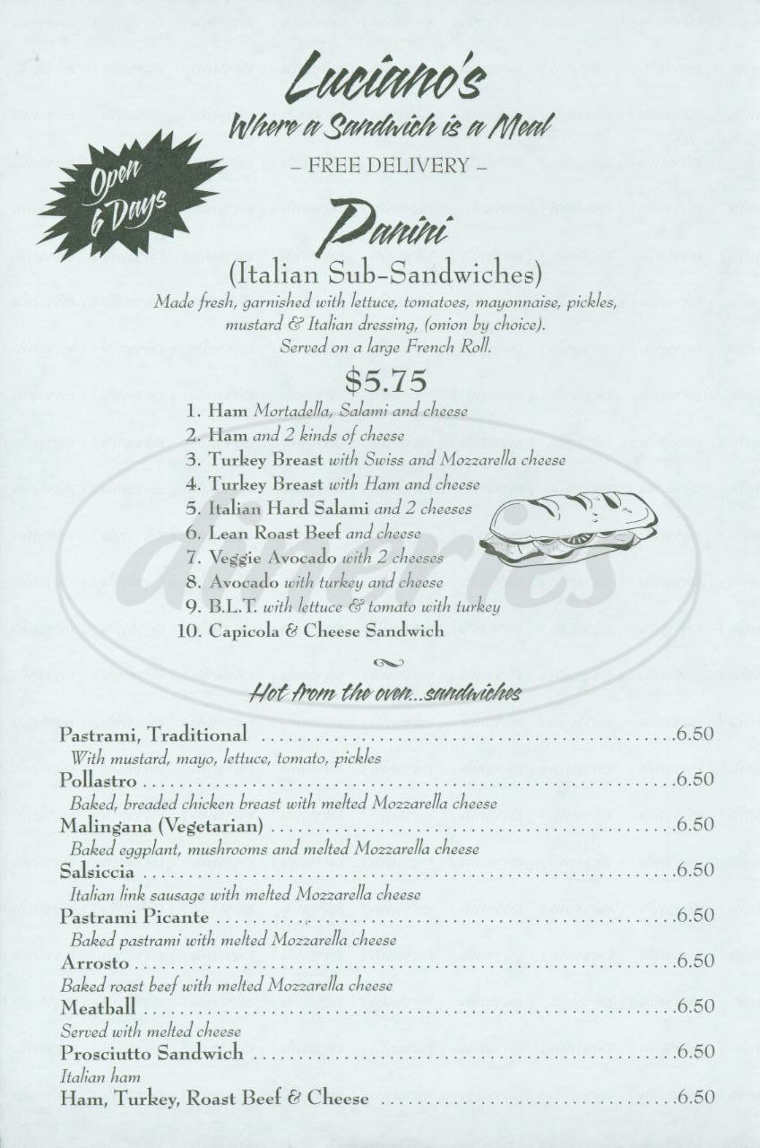 menu for Lucianos Ristorante