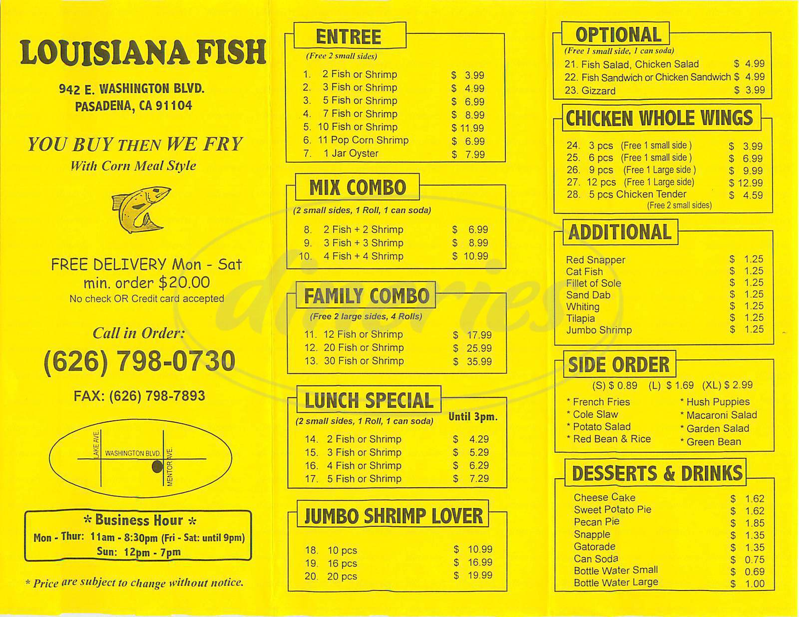 menu for Louisiana Fish