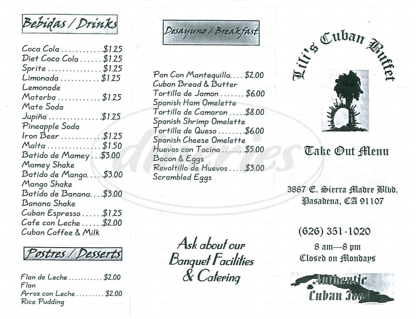 menu for Lilis Cuban Buffet