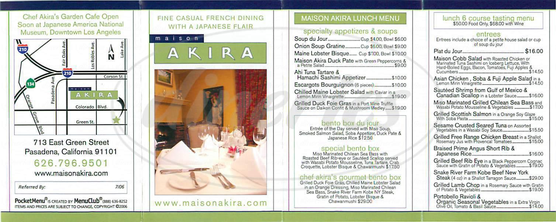menu for Maison Akira