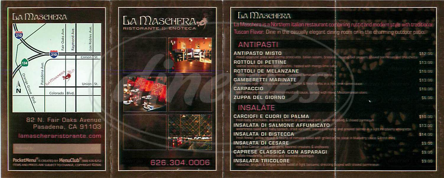 menu for La Maschera