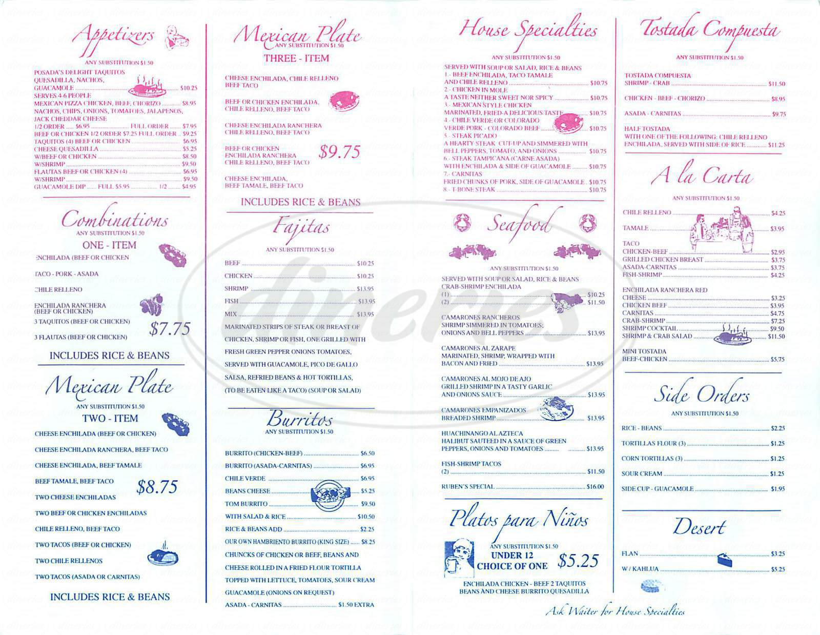 menu for La Nueva Posada