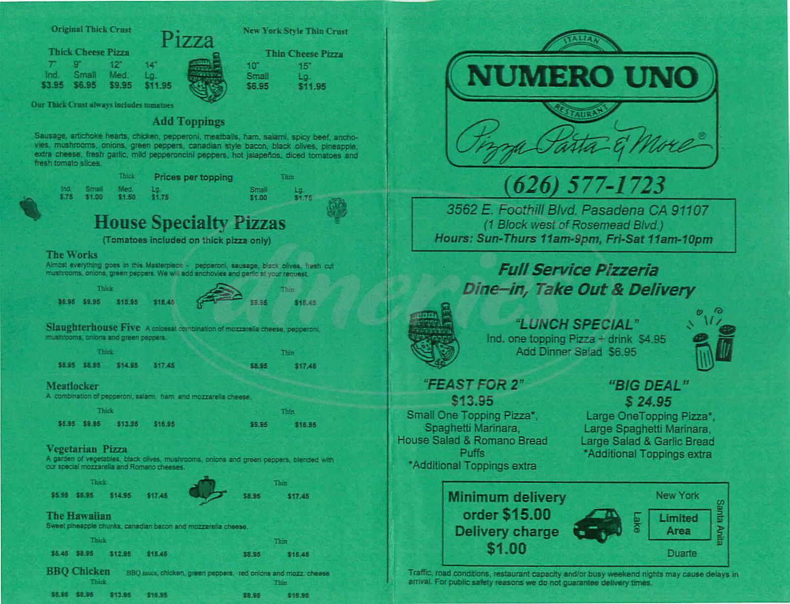 menu for Numero Uno Pizza Pasta & More