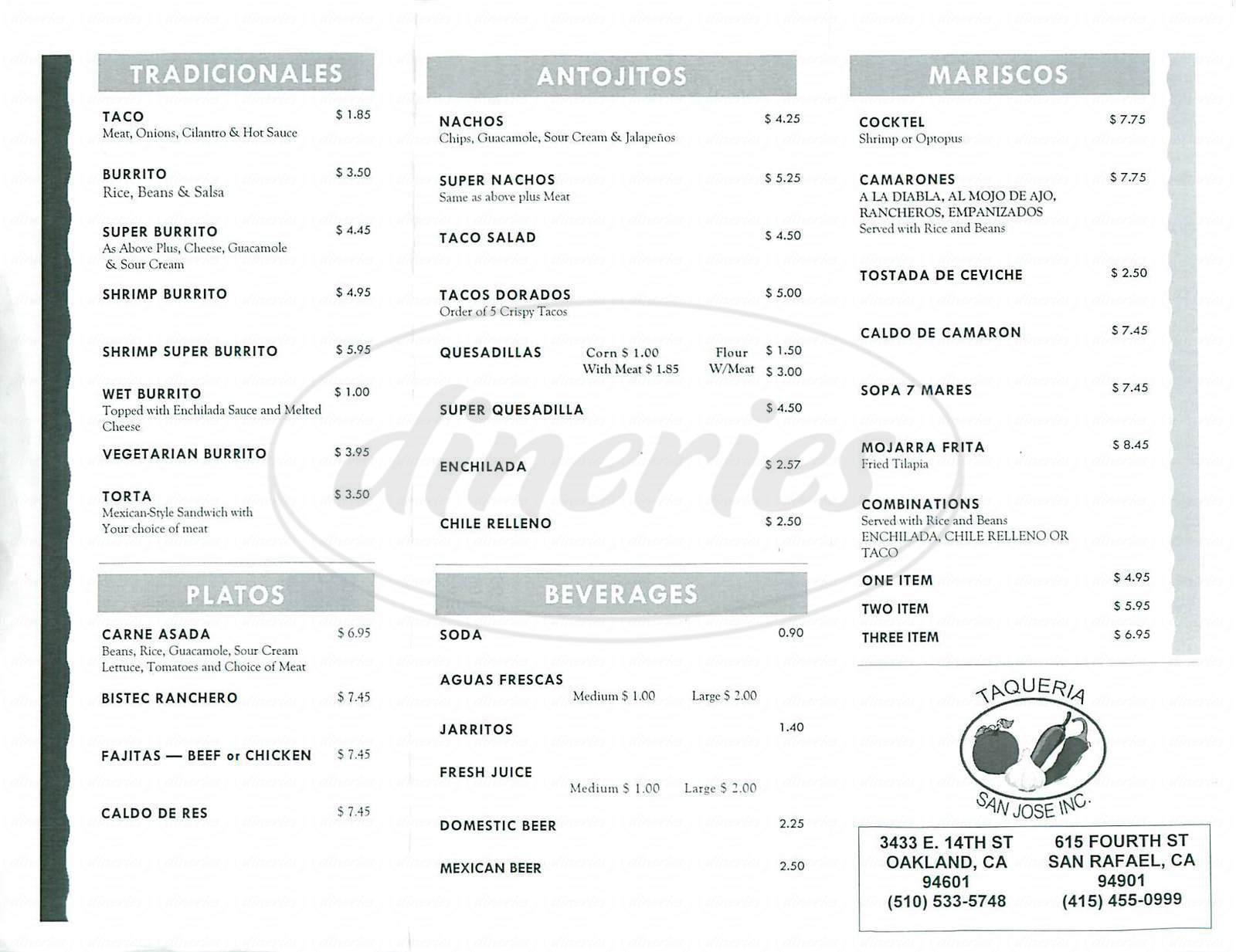 menu for Taqueria San Jose