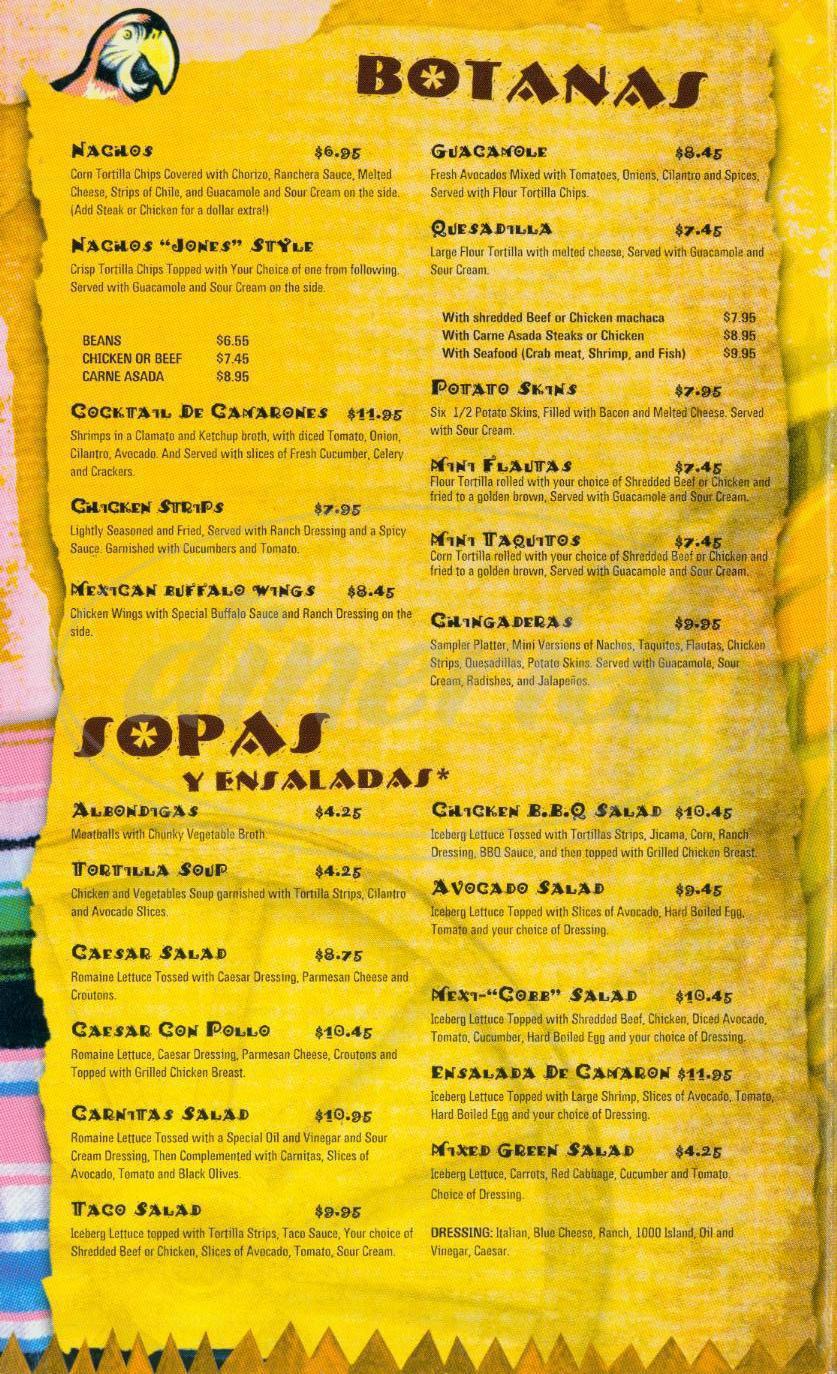 menu for Margarita Jones Restaurant