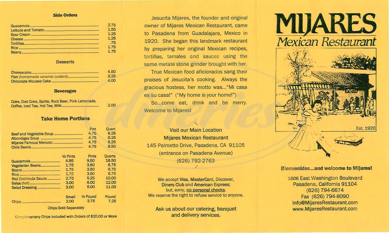 menu for Mijares Mexican Restaurant