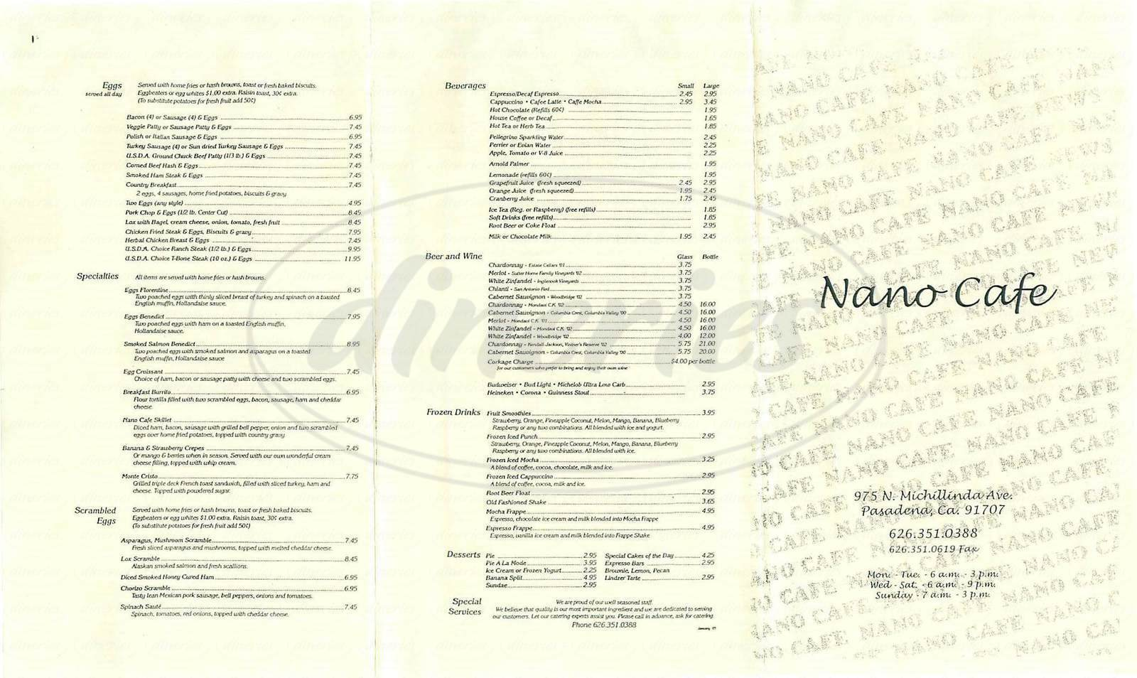 menu for Nano Café