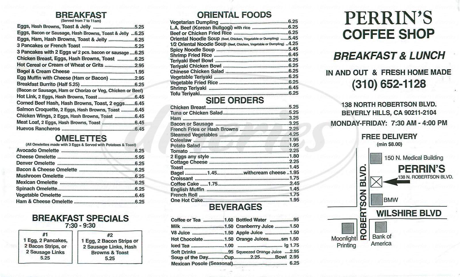 menu for Perrin's Coffee Shop