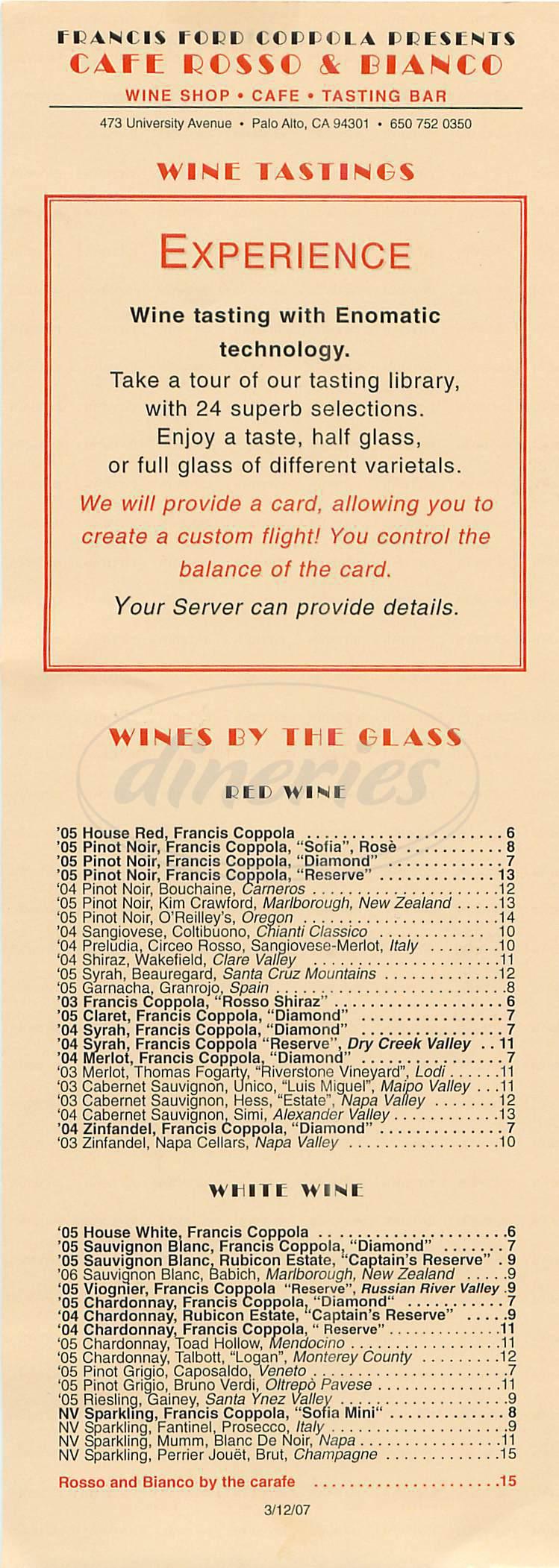 menu for Cafe Rosso & Bianco