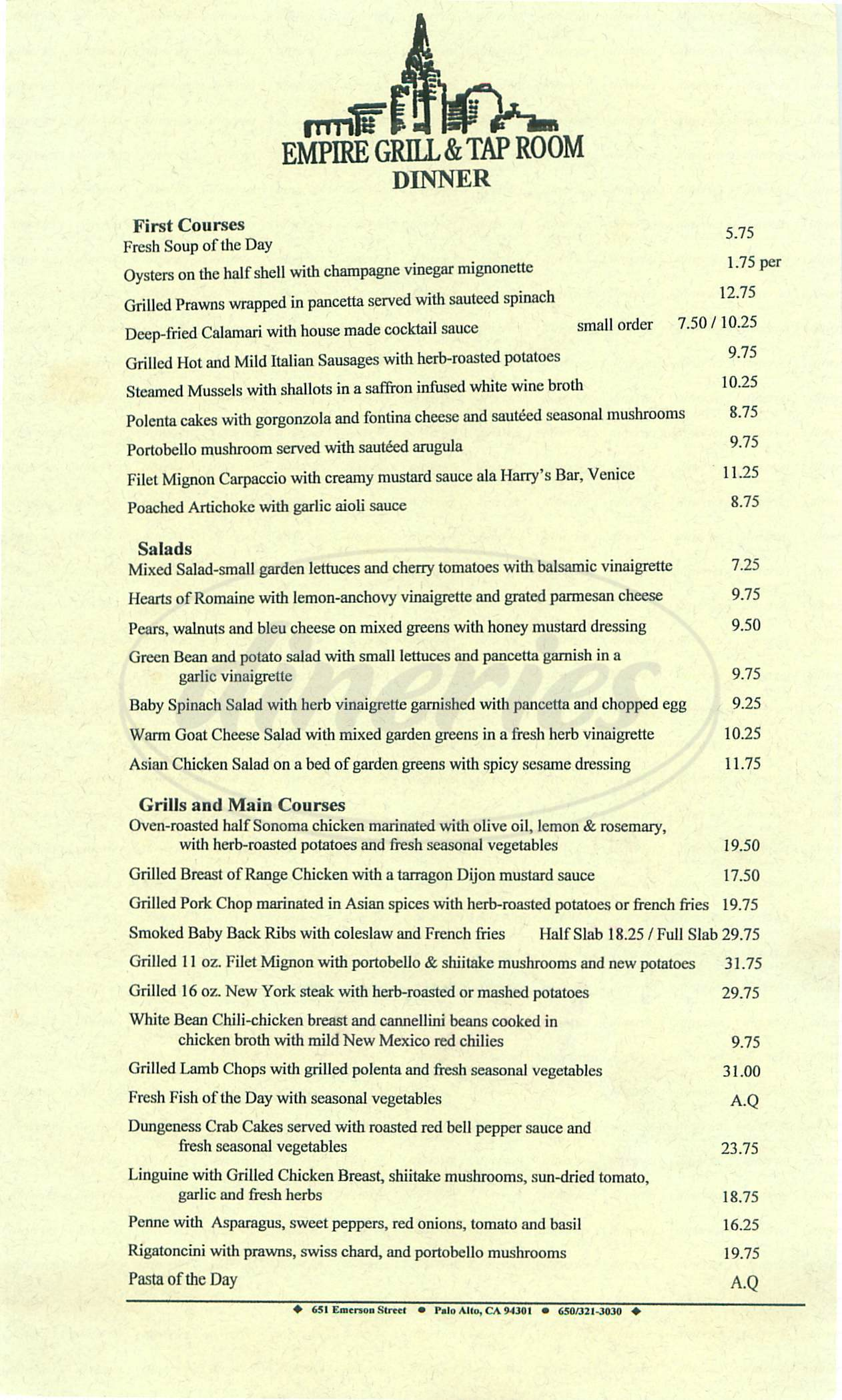 menu for Empire Grill & Tap Room