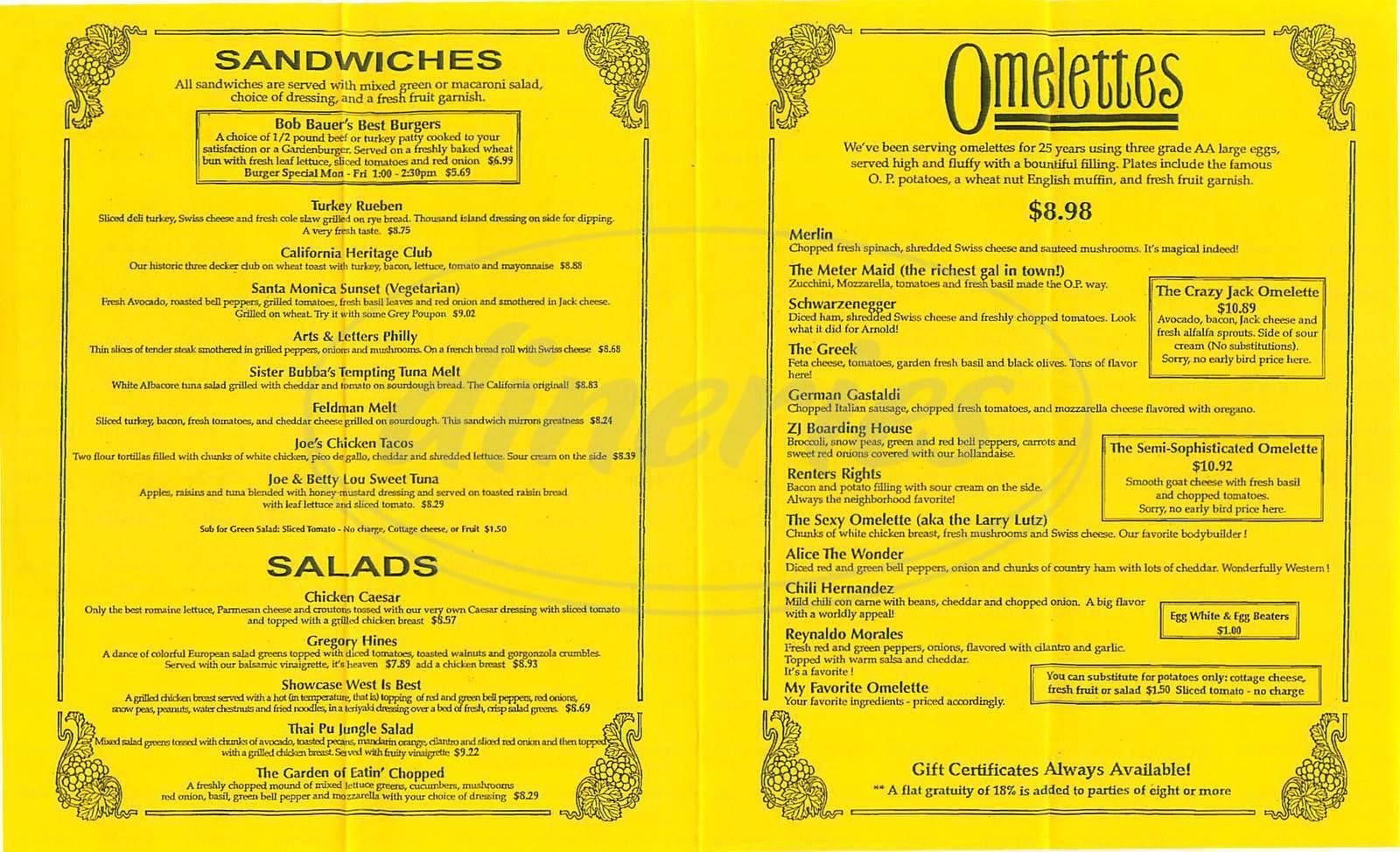 menu for Omelette Parlor