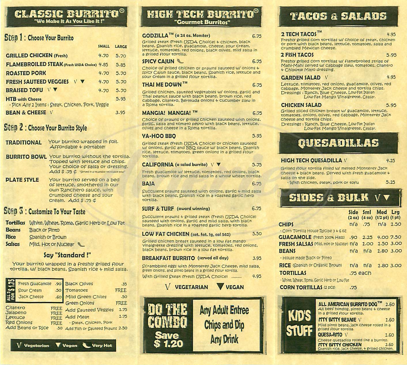menu for High Tech Burrito