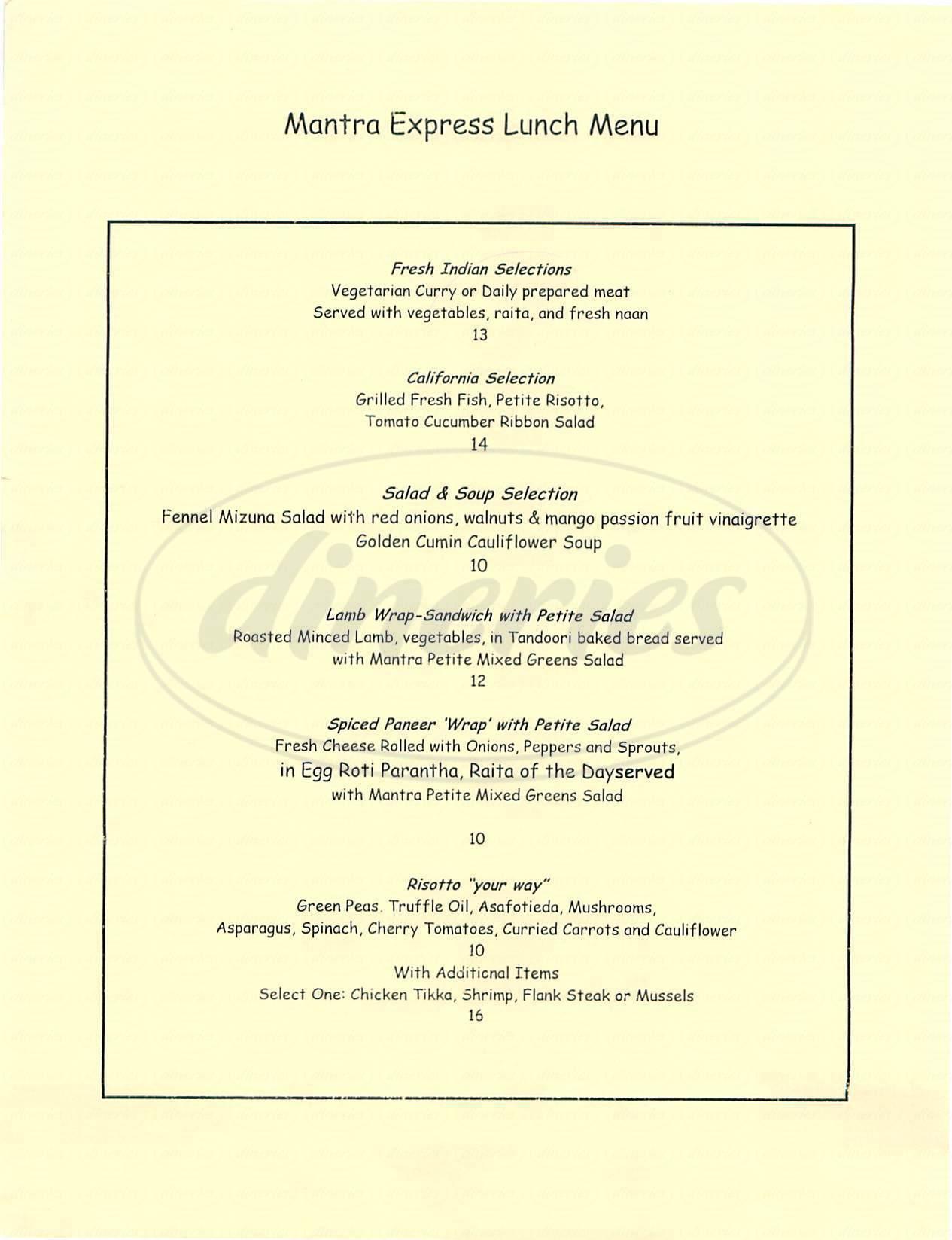 menu for Mantra