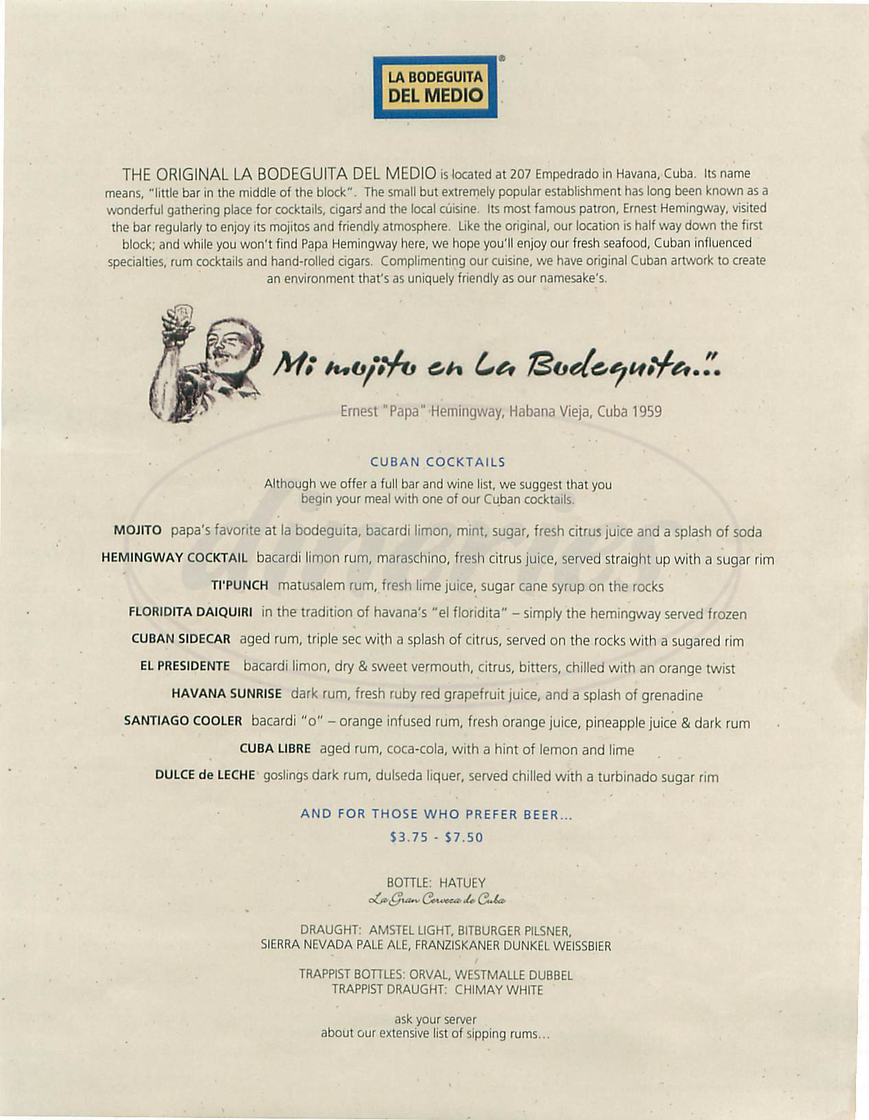 menu for La Bodeguita del Medio