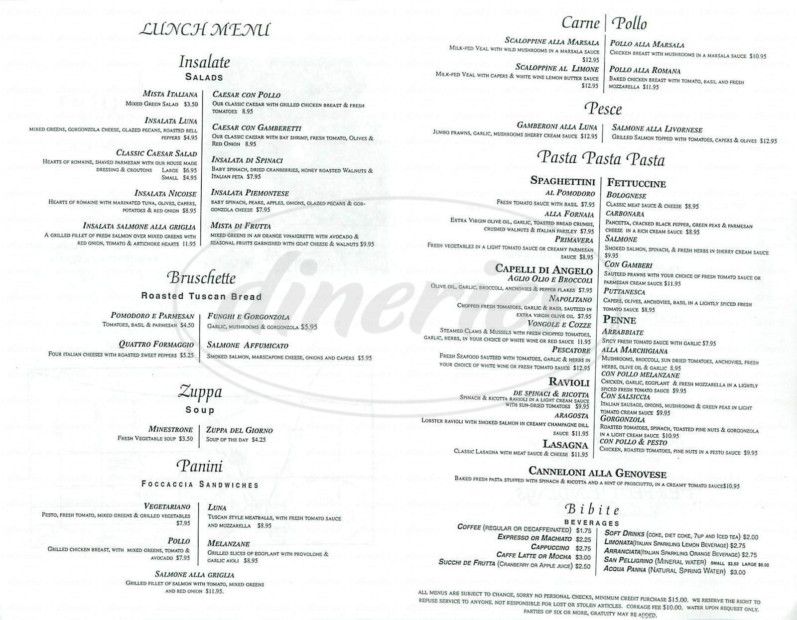 Big menu for Luna Ristorante, Concord