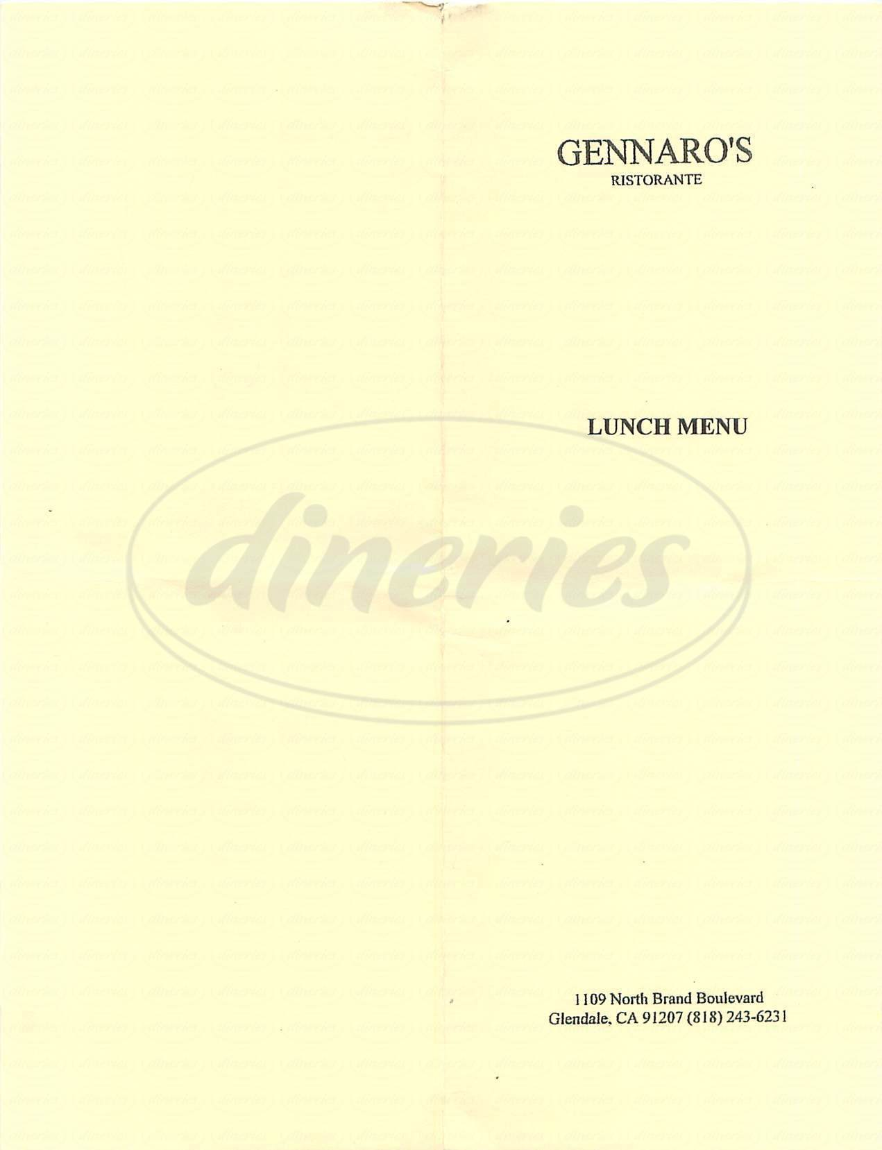 menu for Gennaro's Ristorante