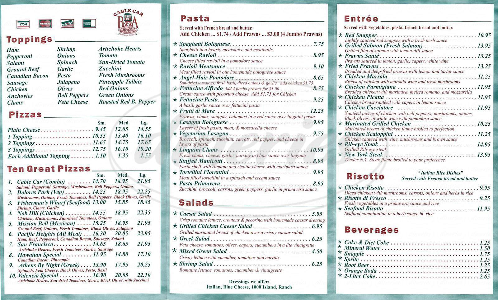 Big menu for Cable Car Pizza, San Francisco