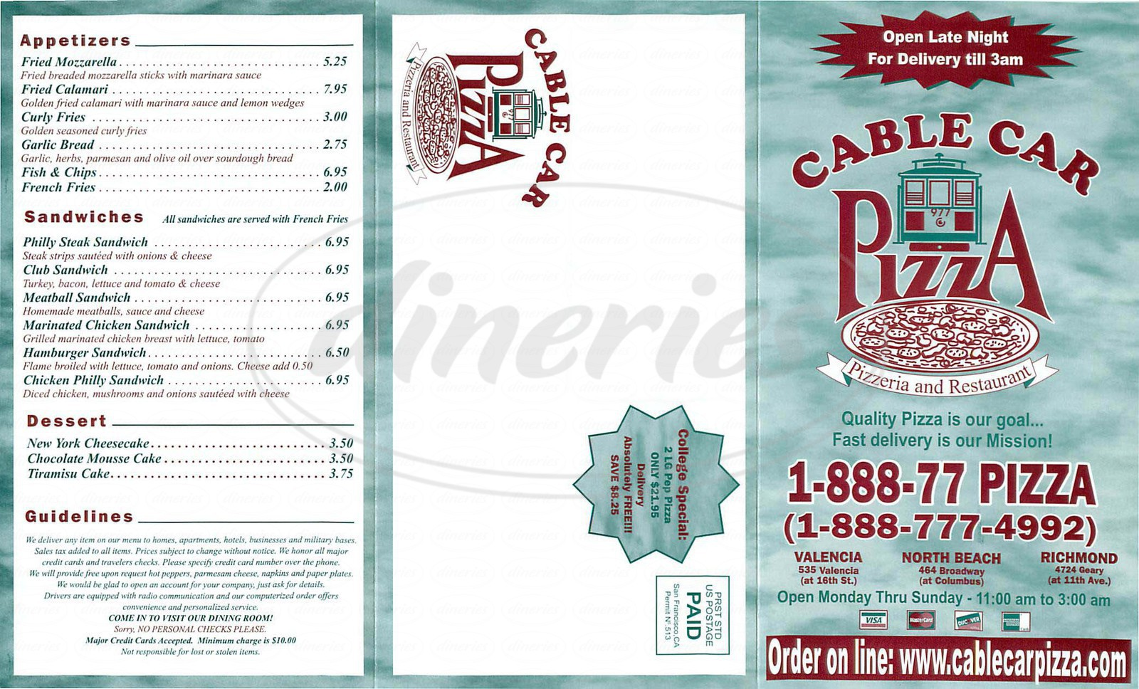 menu for Cable Car Pizza