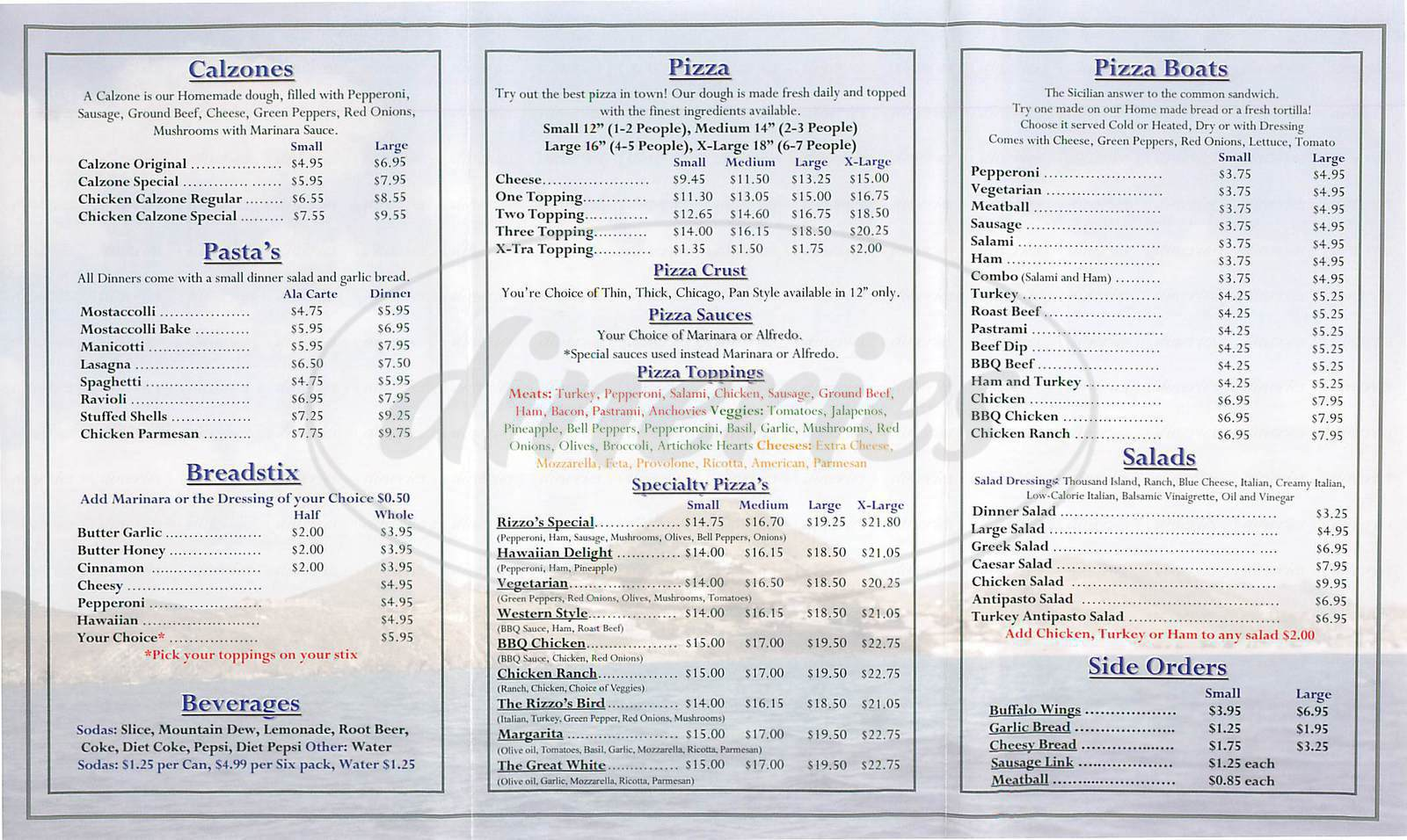 menu for Rizzos Pizzeria
