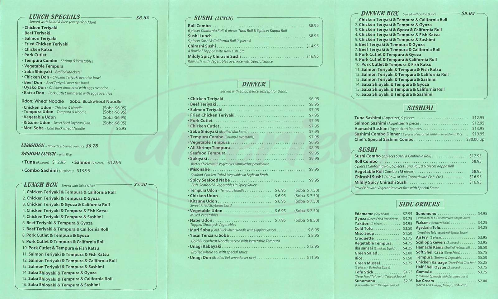 menu for Sushi Tomo
