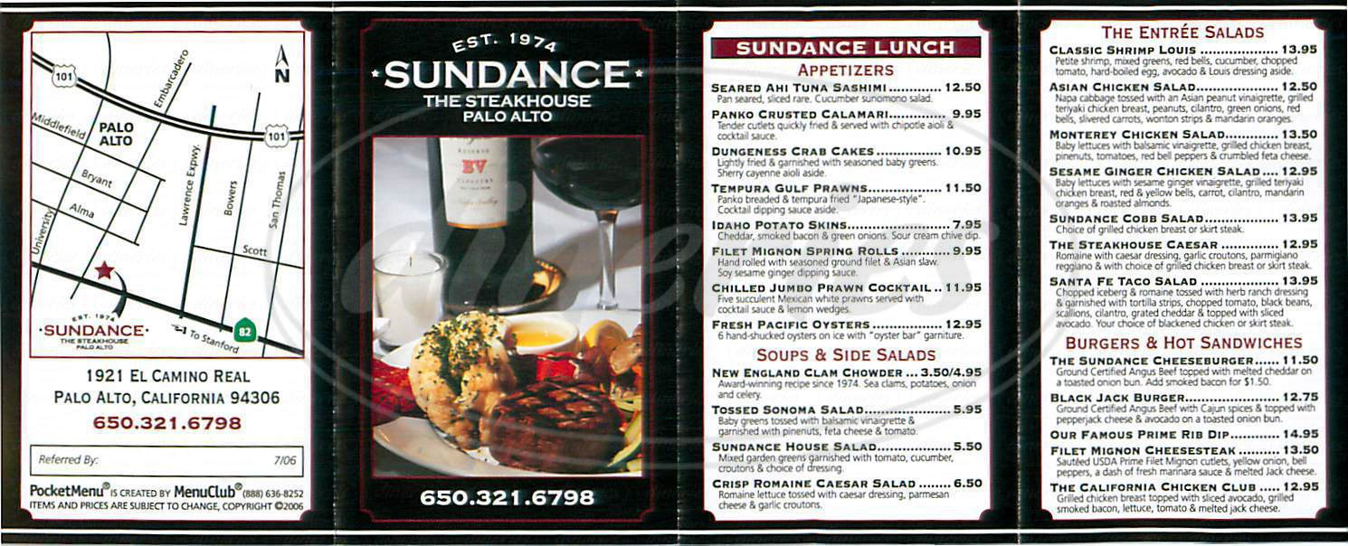 menu for Sundance The Steakhouse
