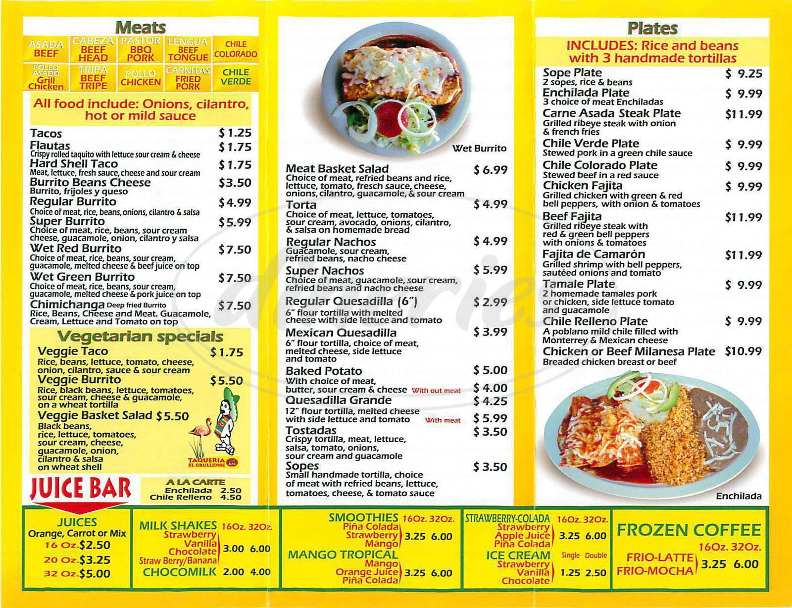 menu for Taqueria el Grullense