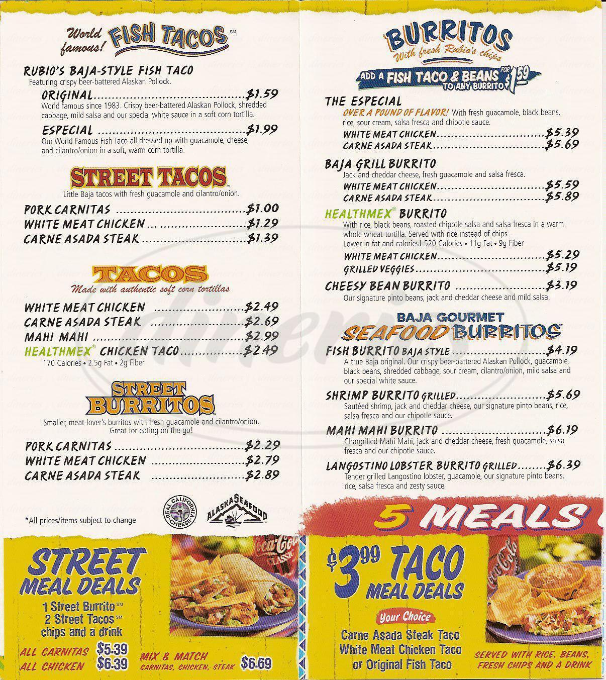menu for Rubios Fresh Mexican Grill