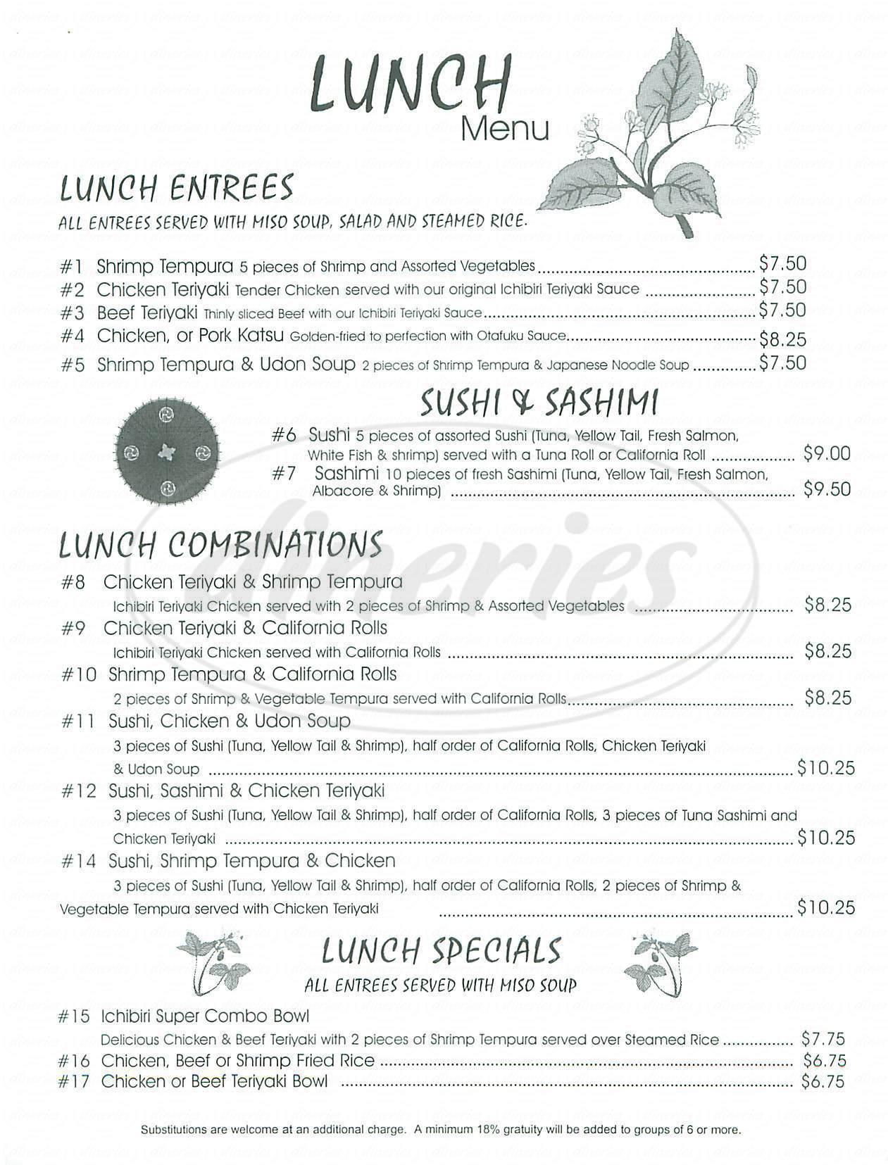 menu for Ichibiri