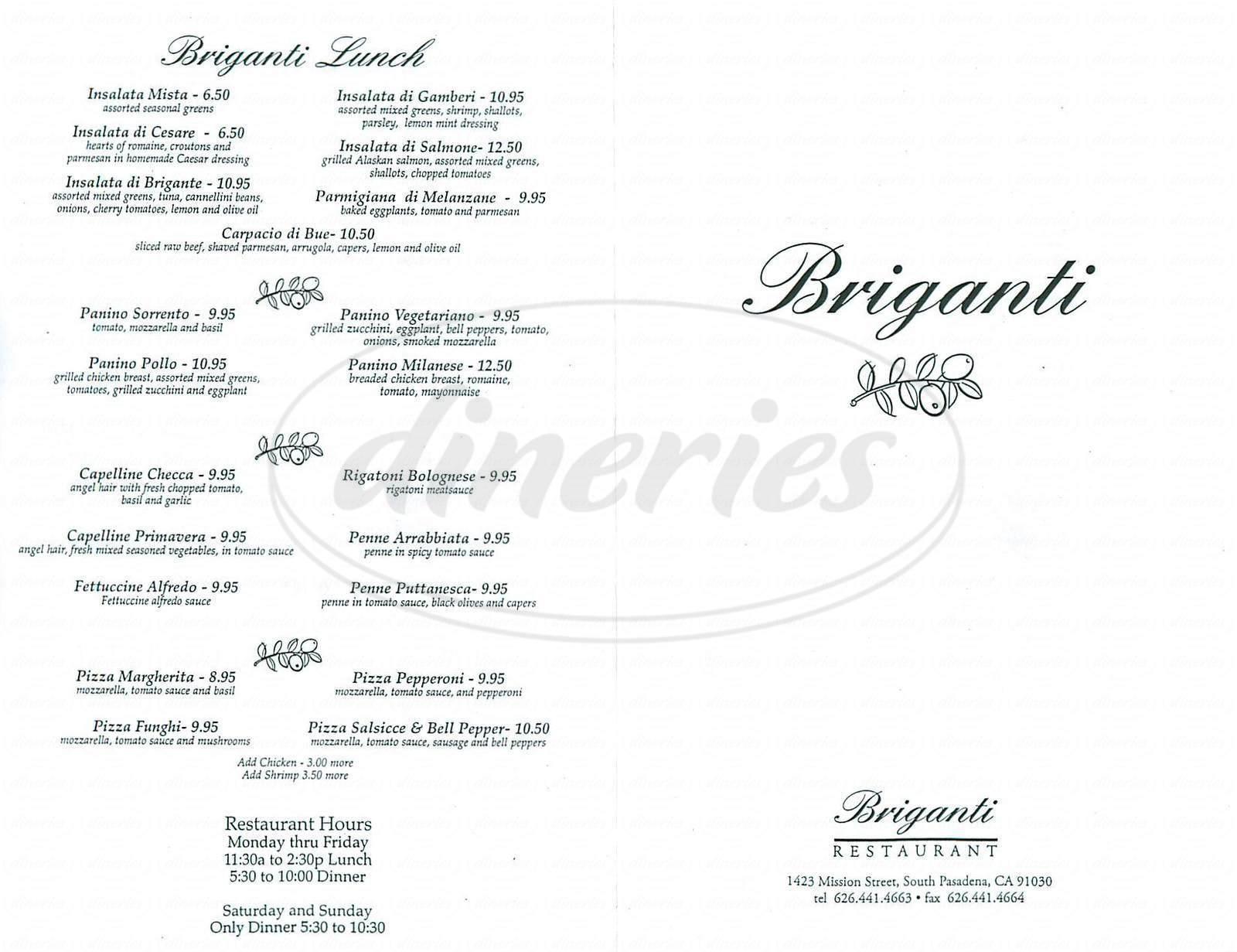 menu for Briganti