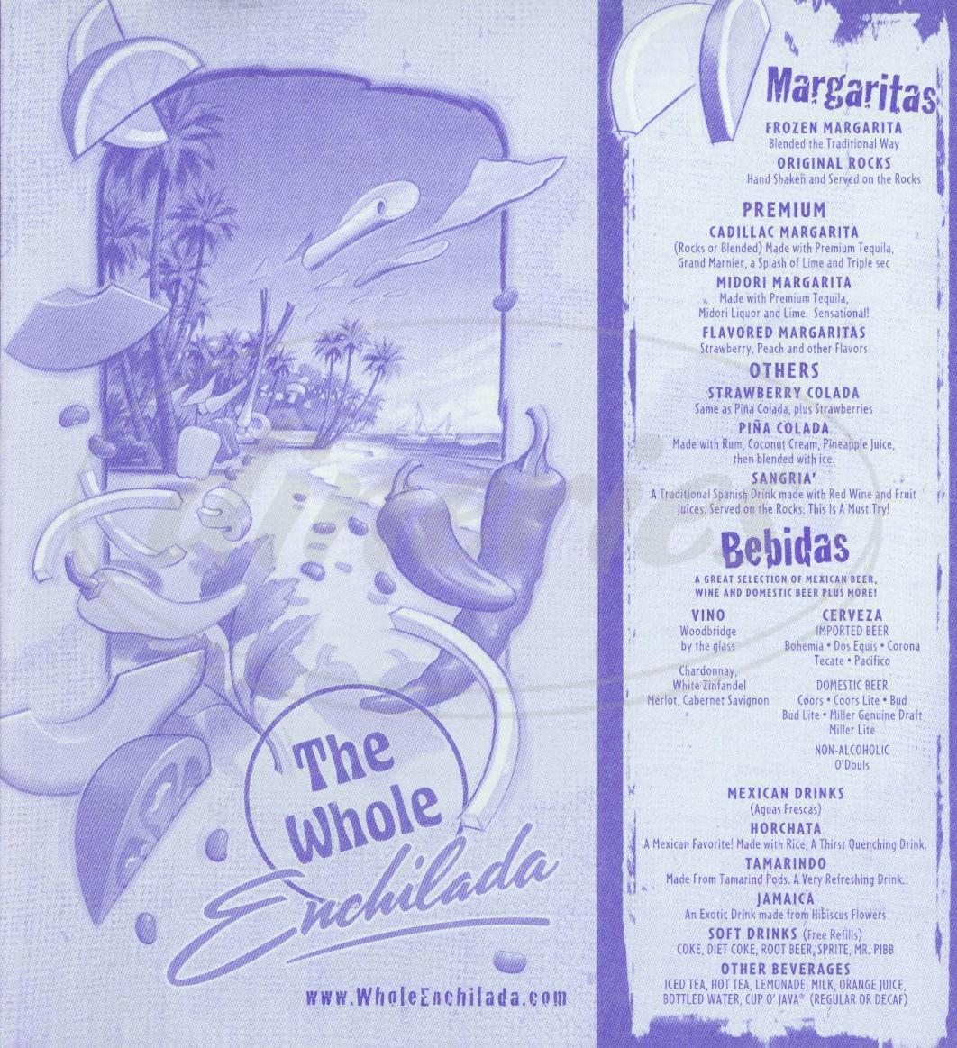 menu for The Whole Enchilada