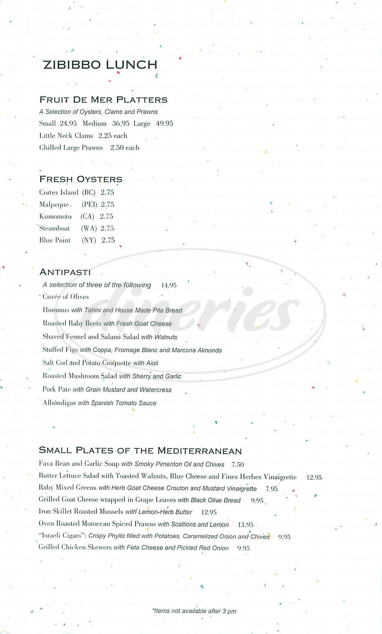 menu for Zibibbo