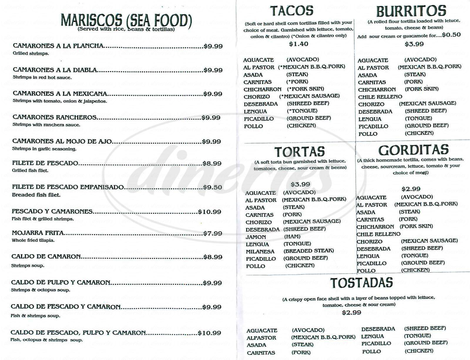menu for El Pueblito