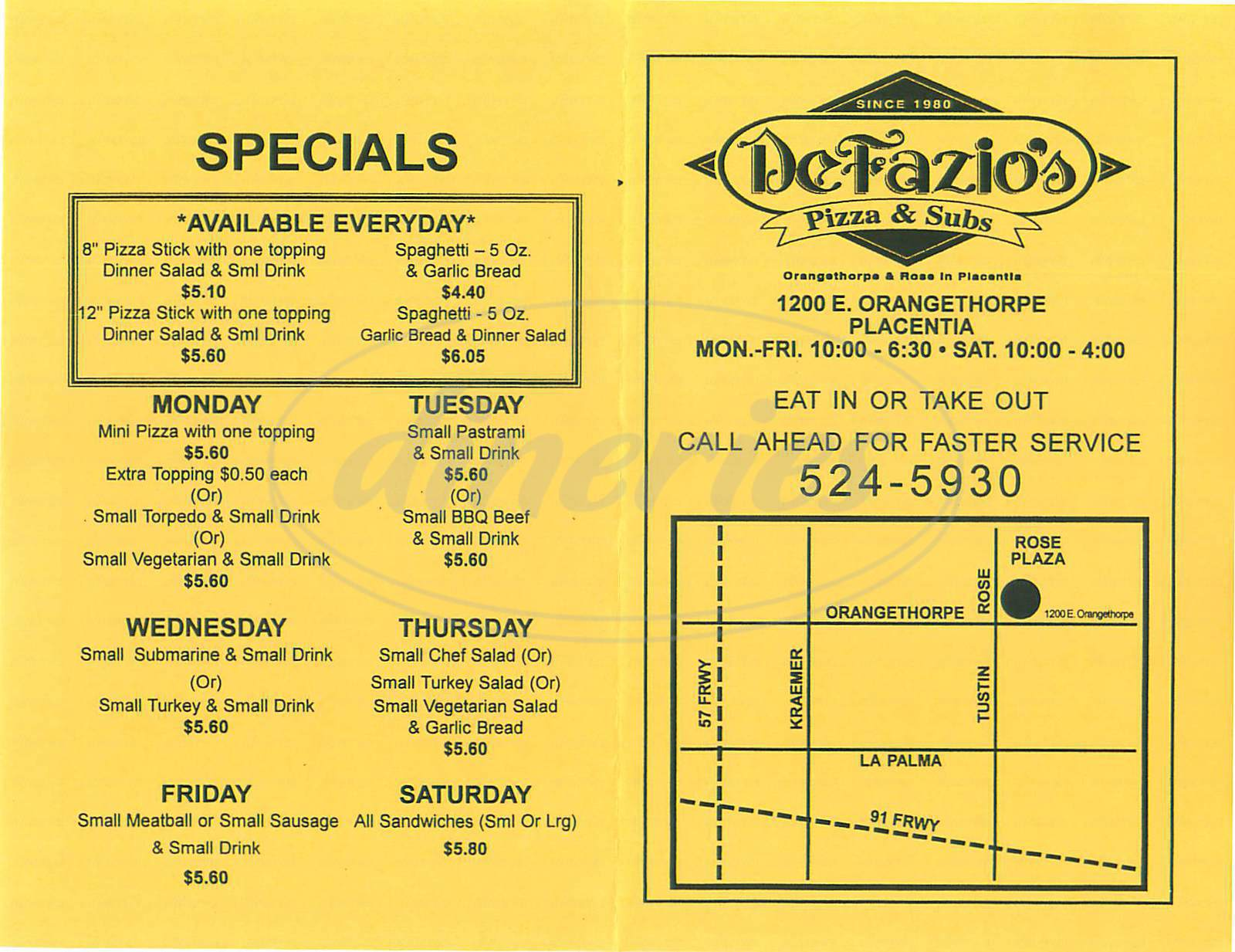 menu for De Fazio's