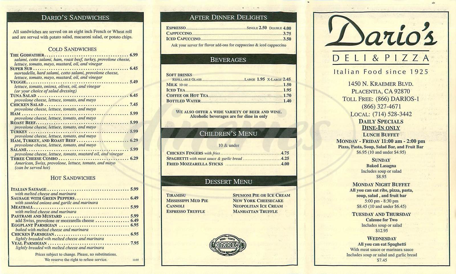 menu for Dario's Deli & Pizza