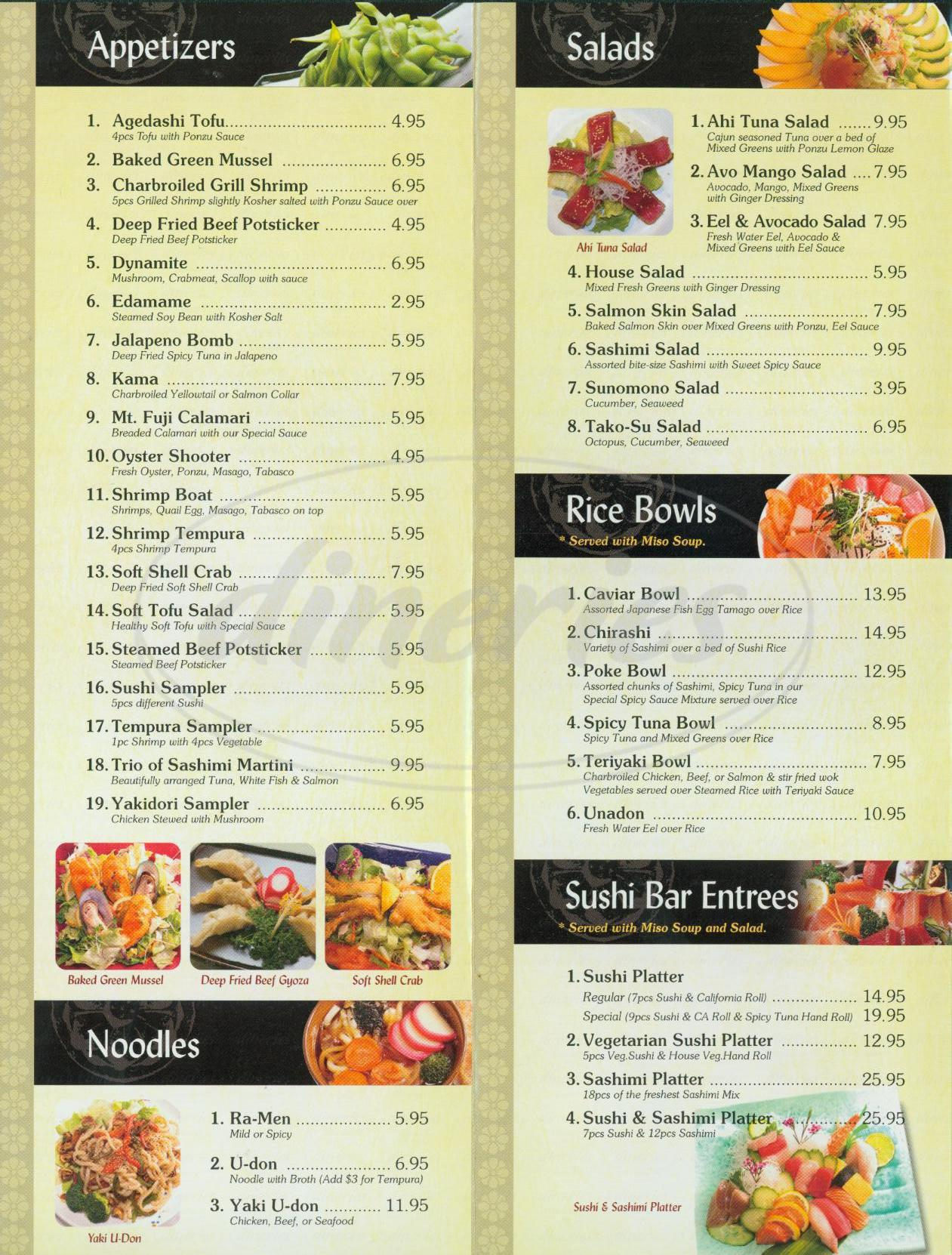 menu for Sake Sushi & Grill