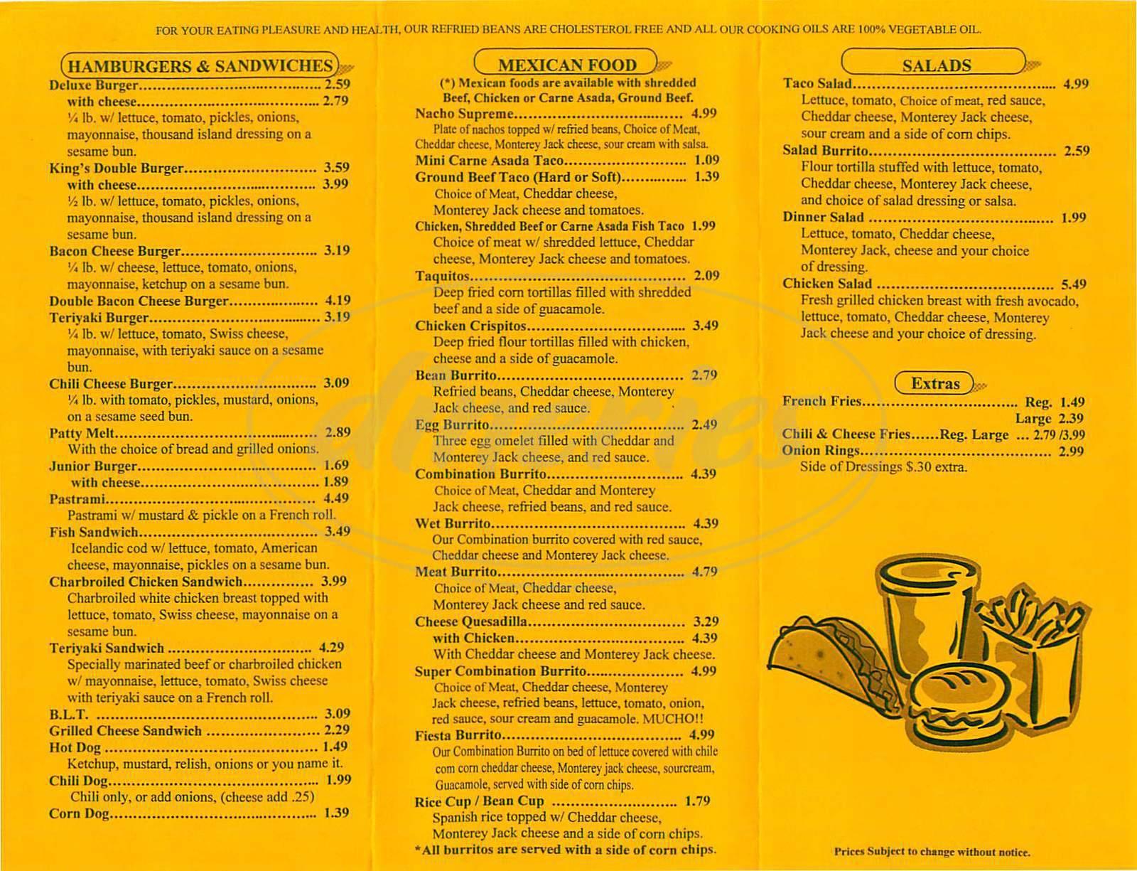 menu for King's Teriyaki Burgers & Tacos