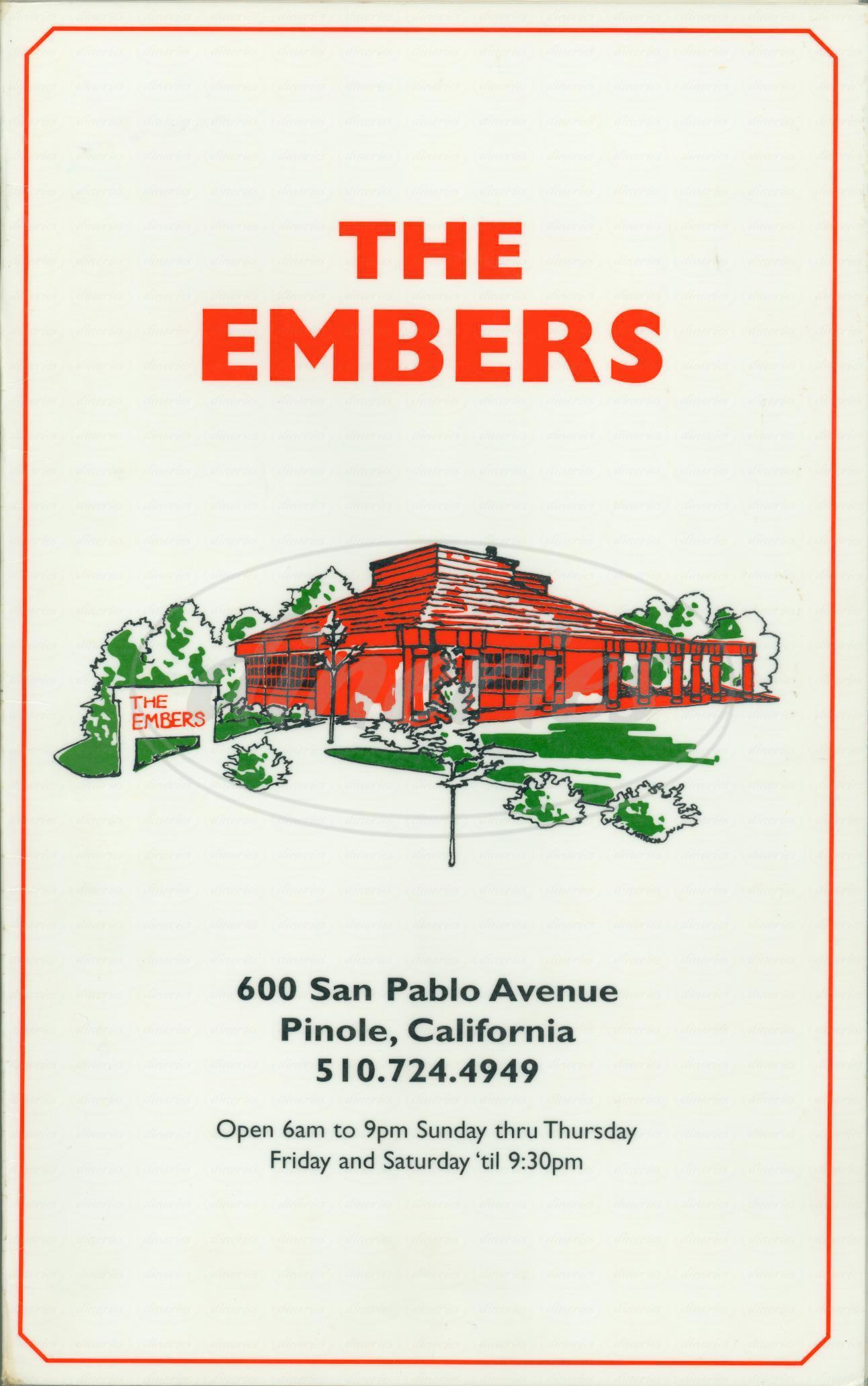 menu for The Embers