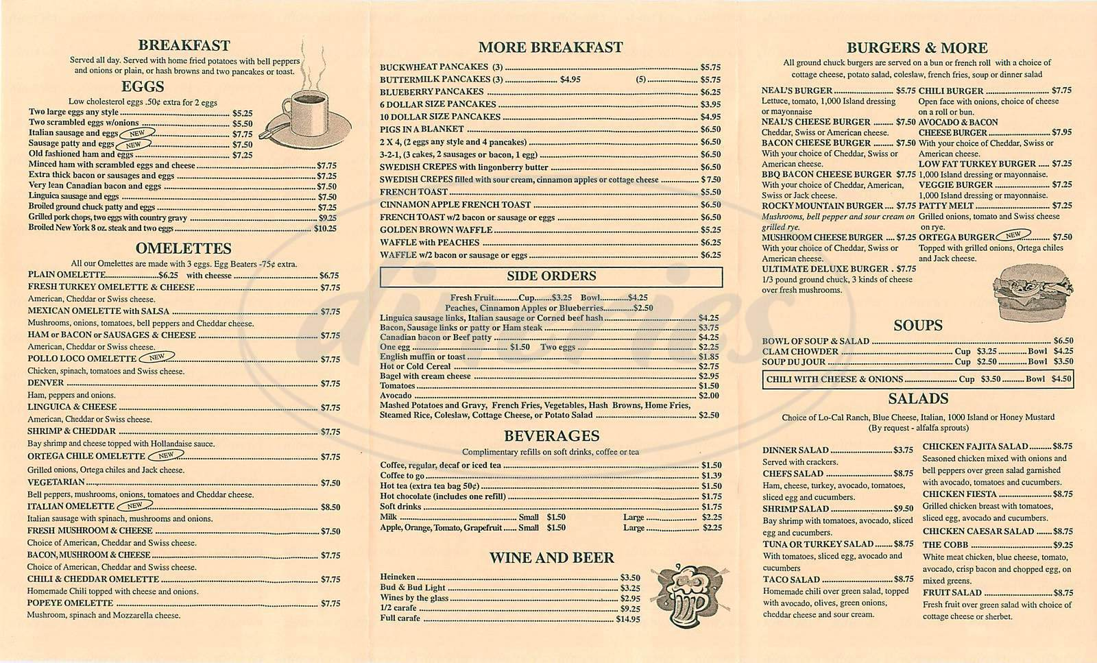 menu for Neals Coffee Shop