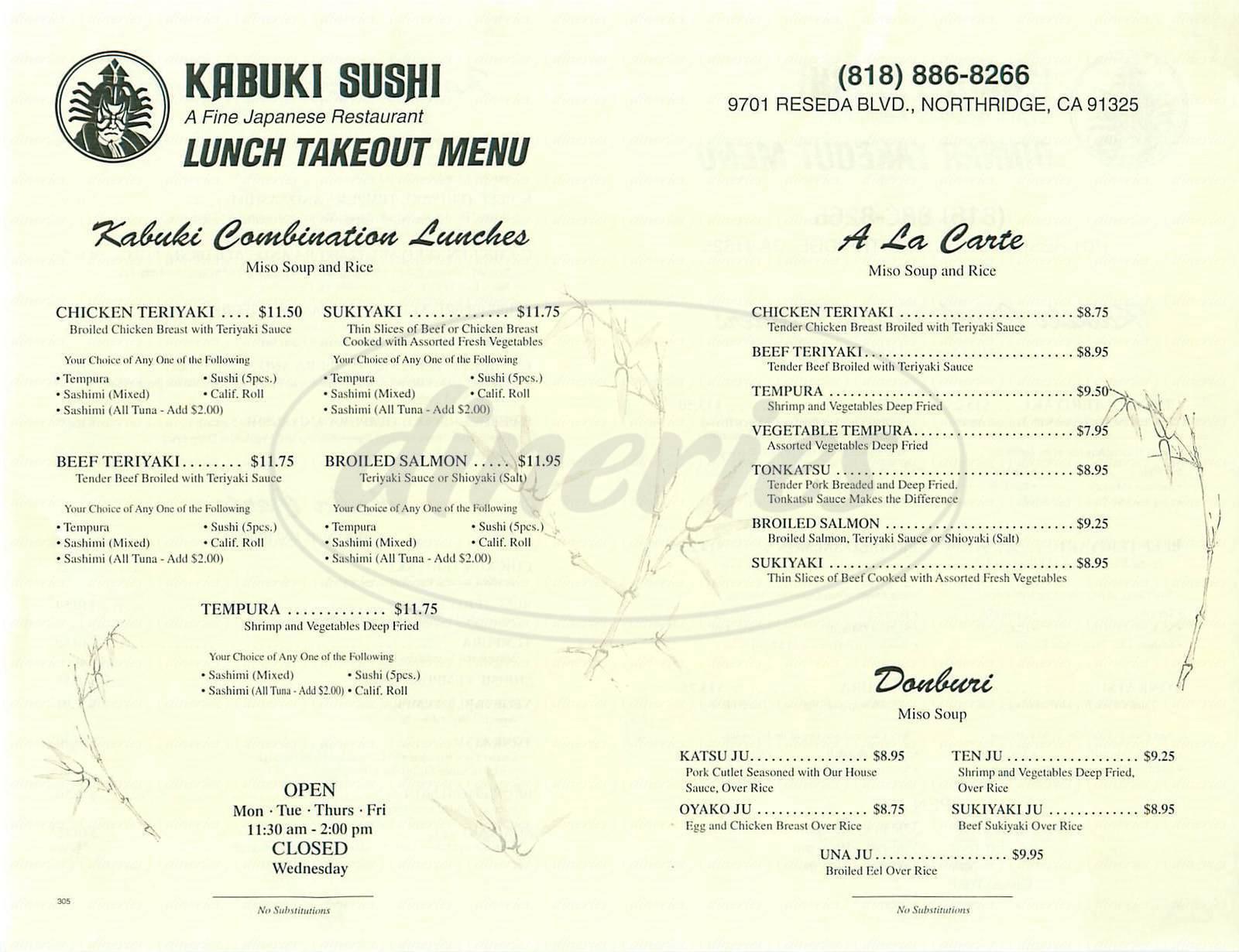 menu for Kabuki Sushi