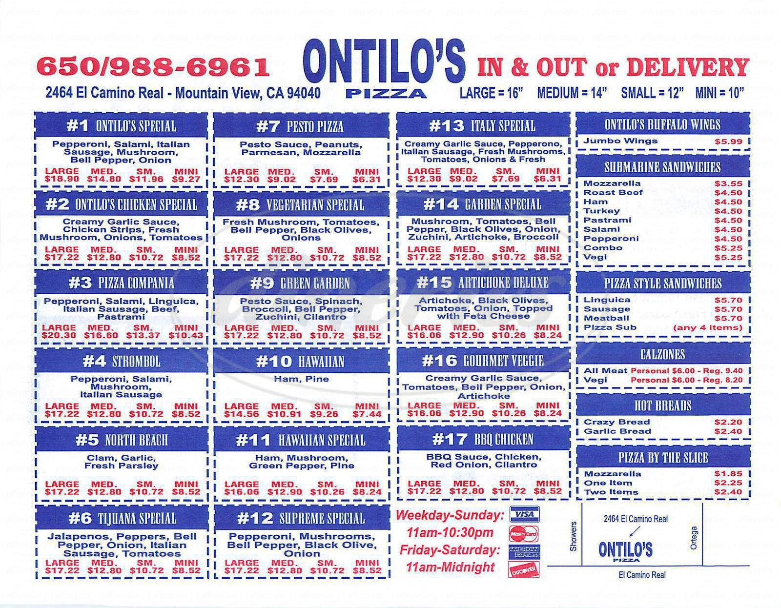 menu for Ontilo's Pizza