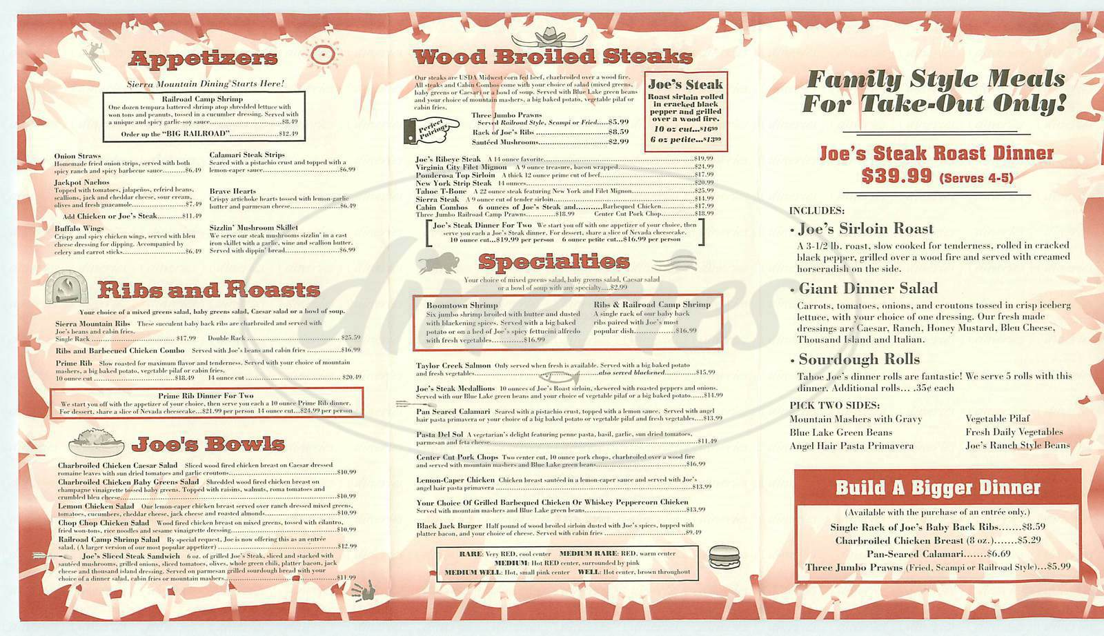 menu for Tahoe Joes Famous Steakhouse