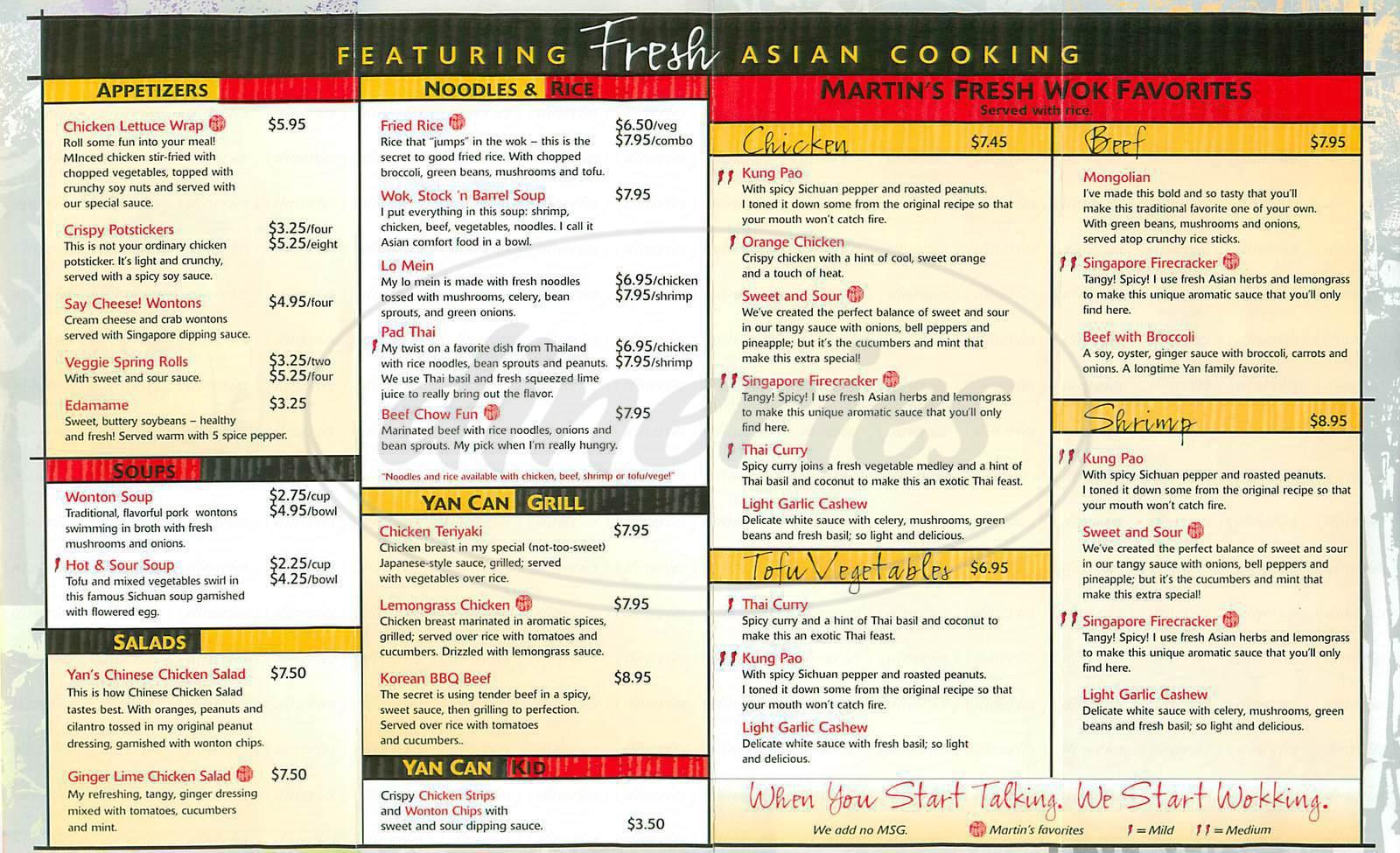 menu for Yan Can