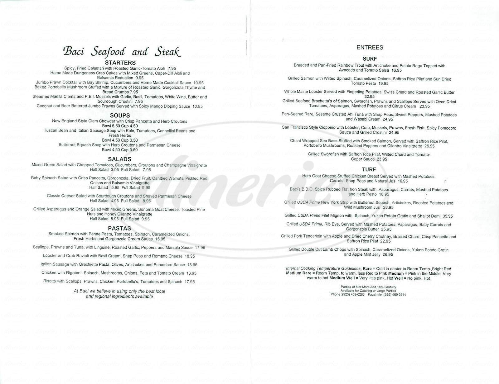 menu for Baci Seafood & Steak
